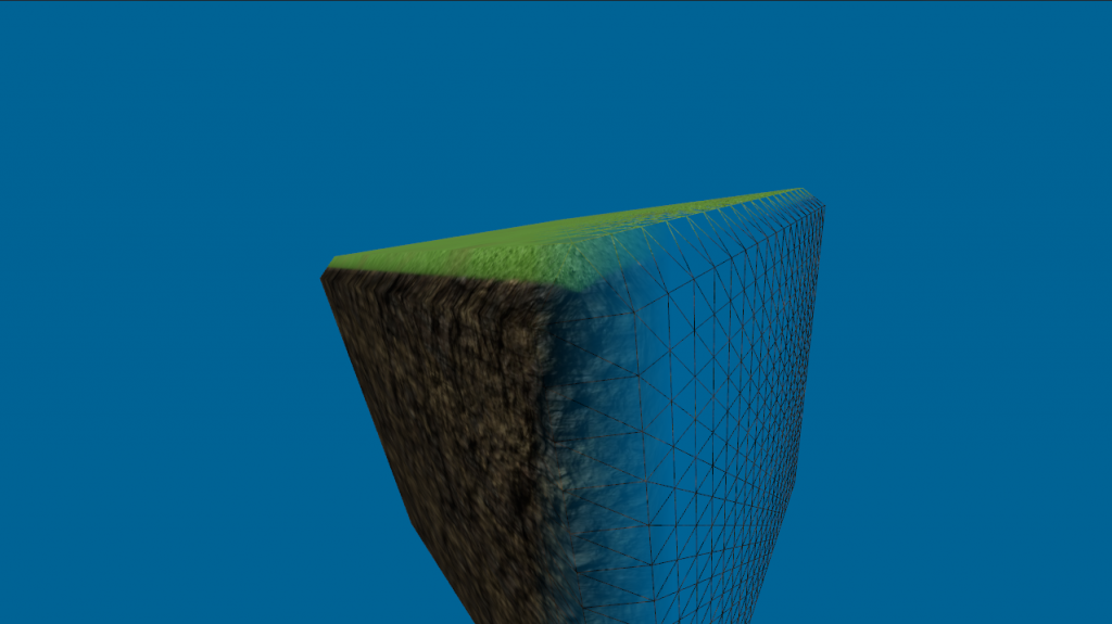 Cube polygonized with a MC-based algorithm - notice the loss of detail on the edge
