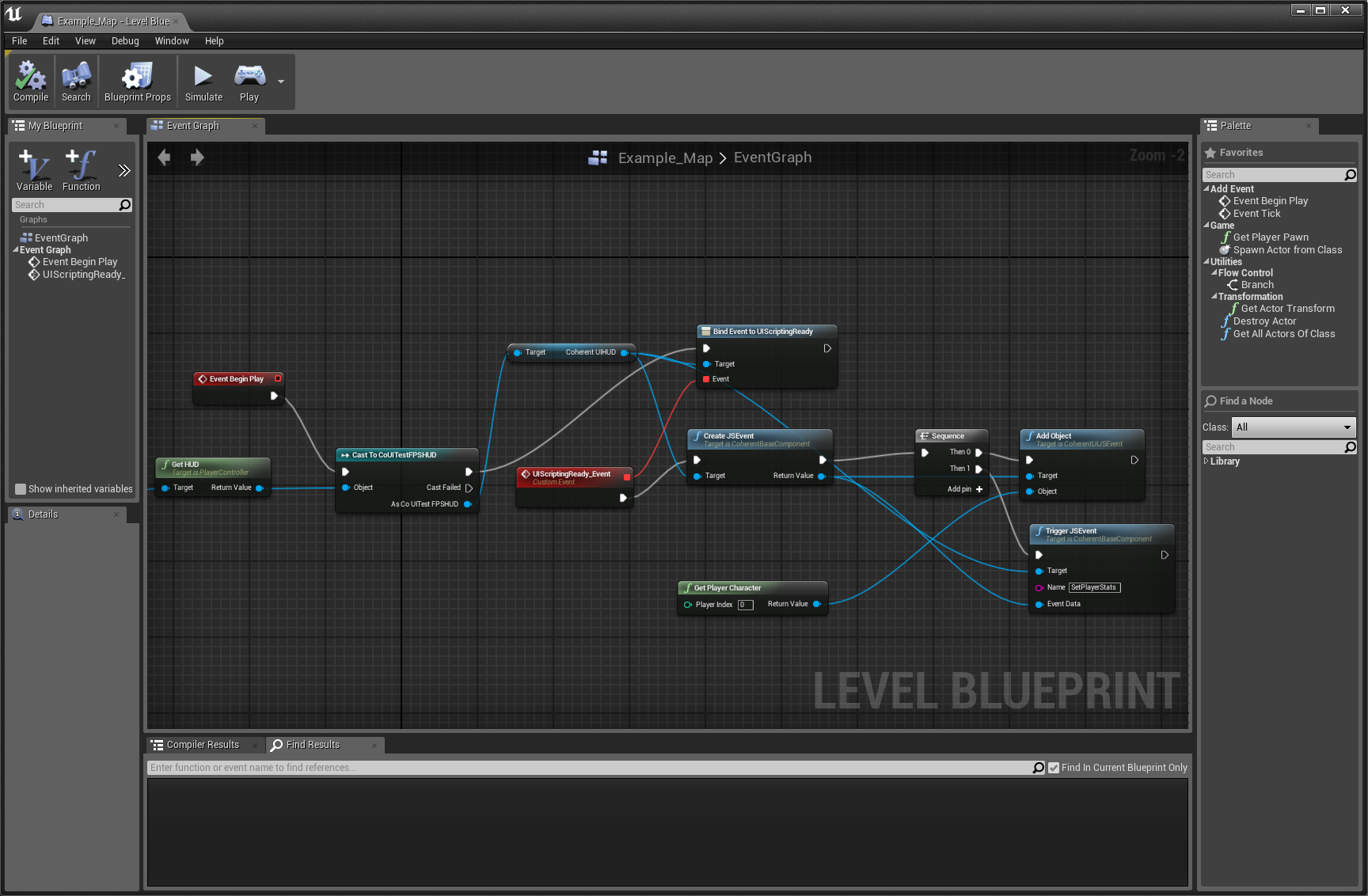Ui scripting with ue4 blueprints introduction coherent labs sending the player character to the ui via blueprints malvernweather Image collections