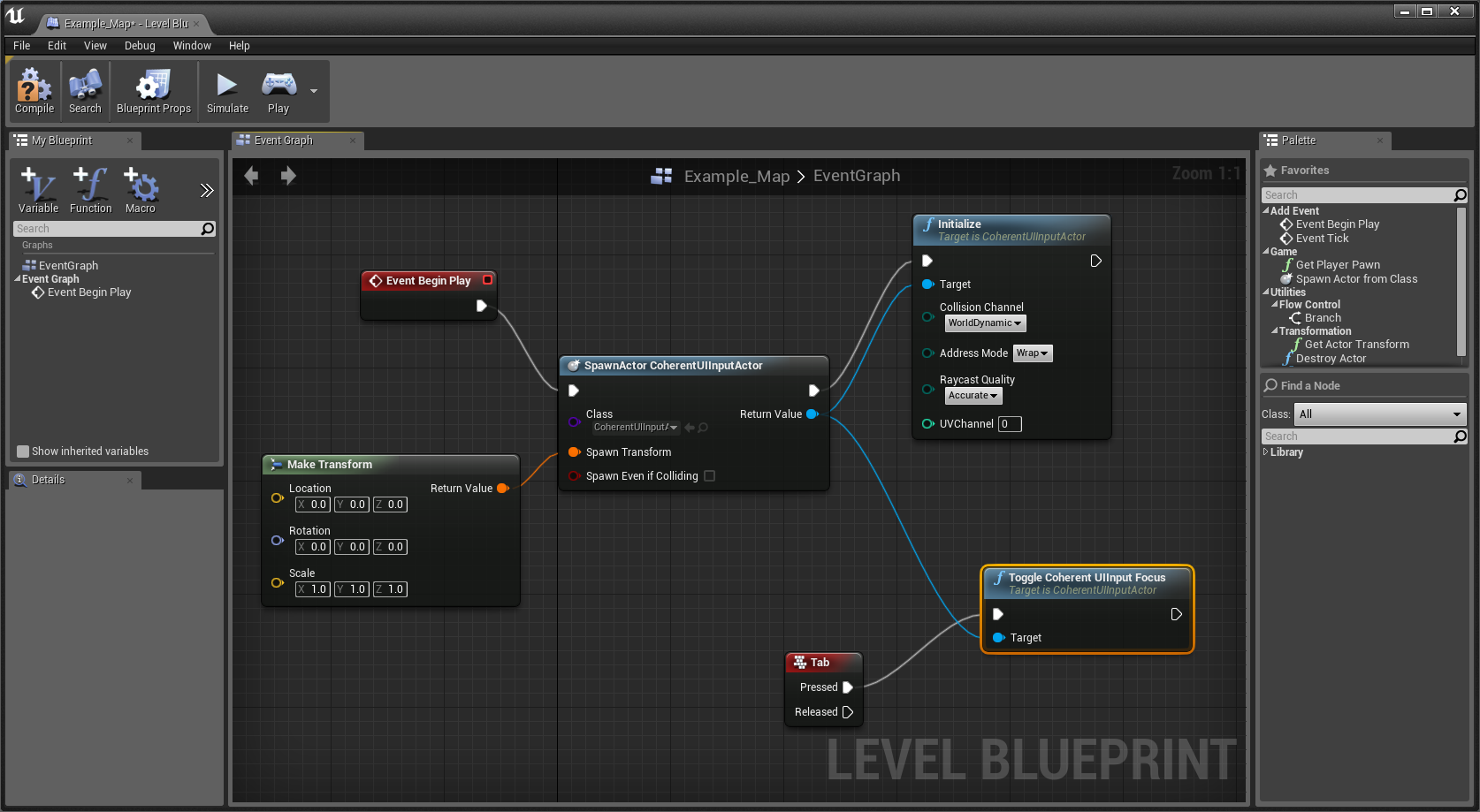 Presenting the unreal engine 4 blueprints support focusing coherent ui with the tab key malvernweather Image collections