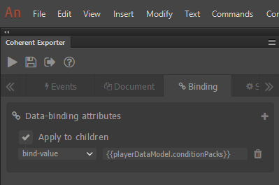 conditionPacks data-binding attribute