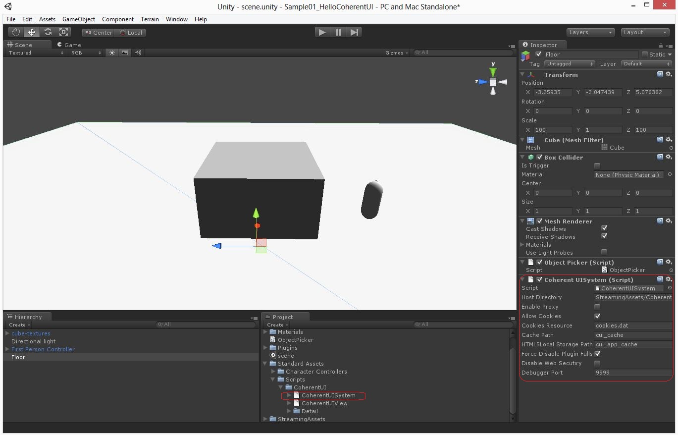 Coherent UI for Unity3D: Important points