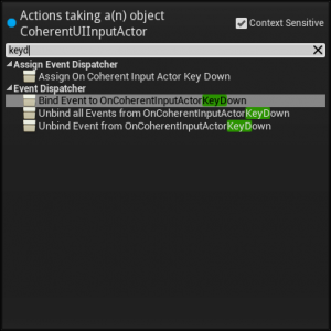 Coherent UI Input Actor Events (context-specific)