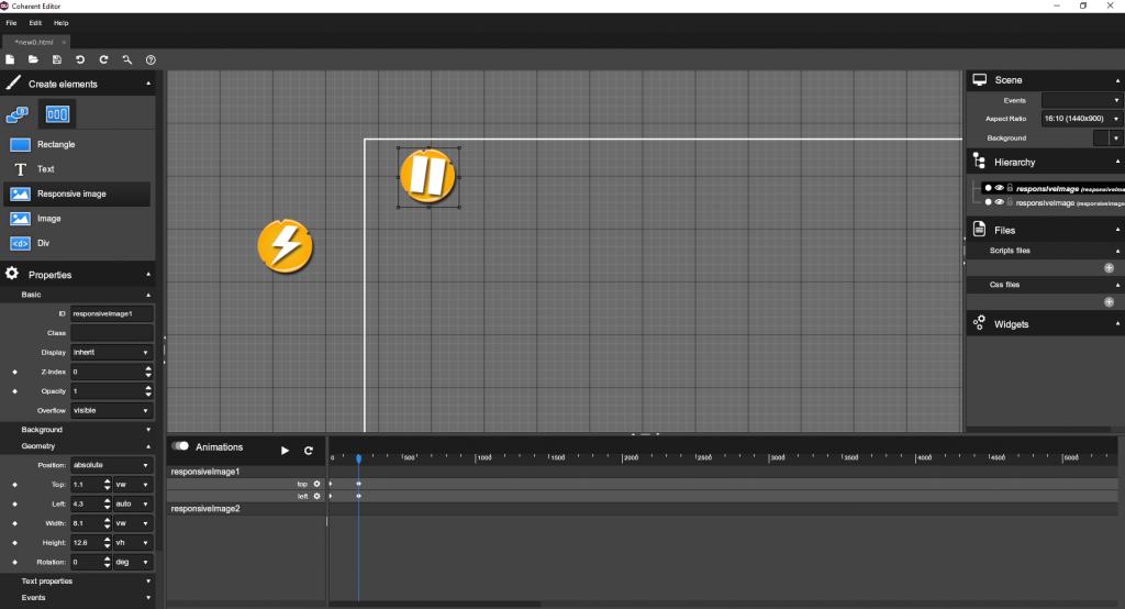 UI buttons visual editor