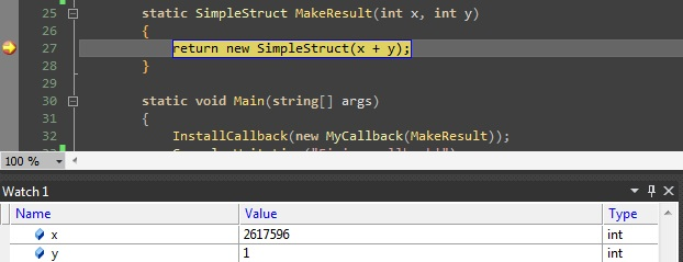 Passing a struct from C# to C++ gone wrong