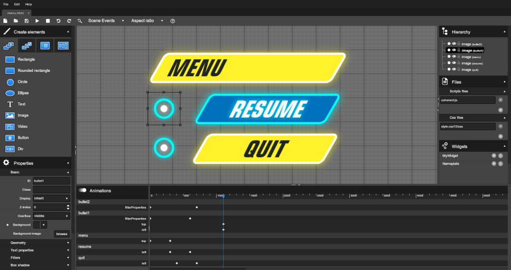 Coherent Editor game UI