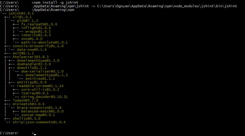 Installing JSHint code analyzer