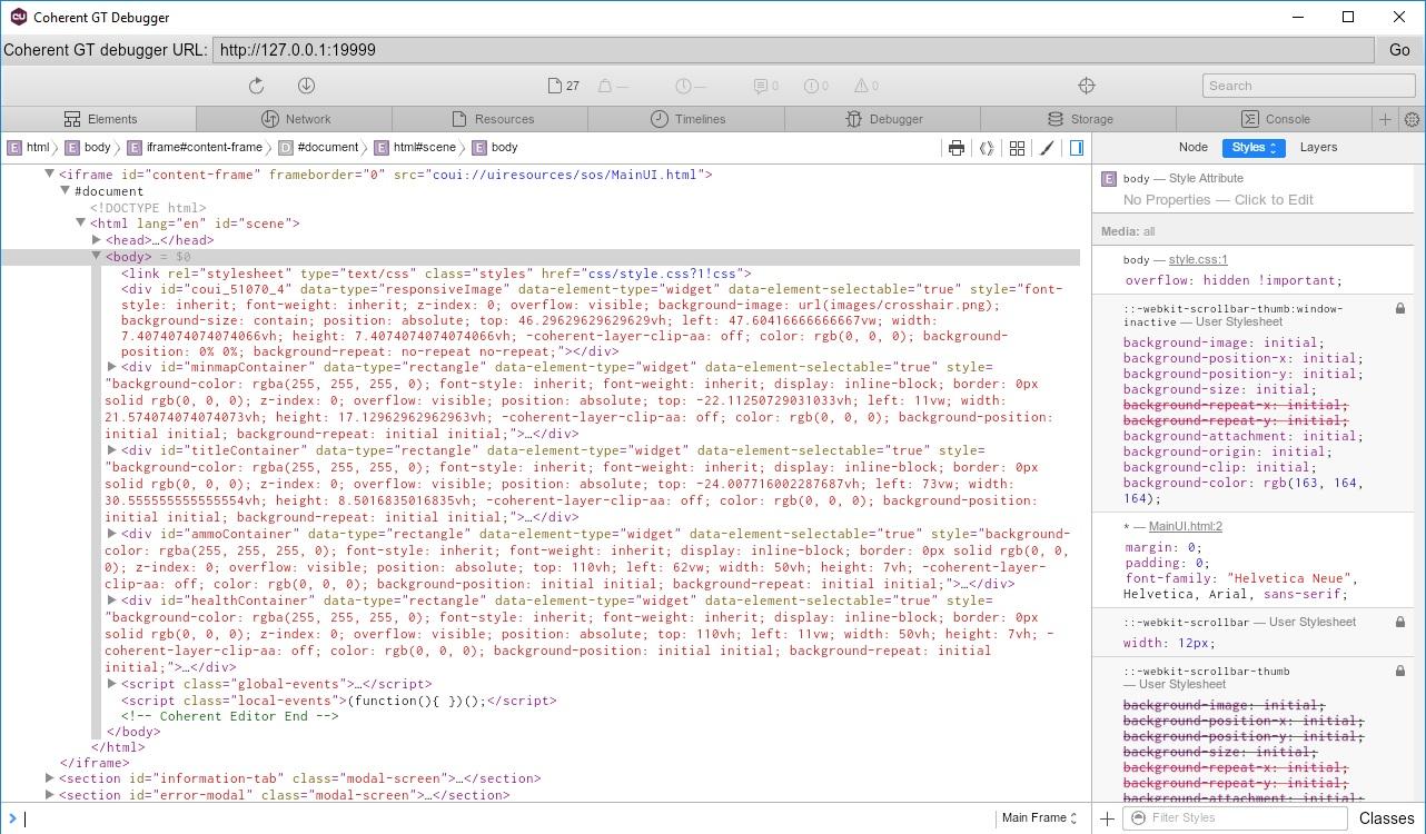 C oherent GT  UI debugger