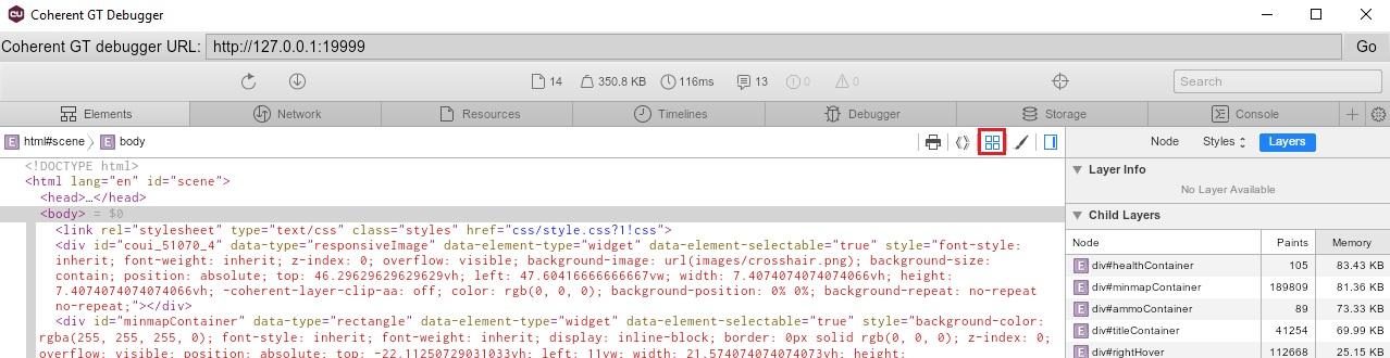UI debbuger tool layers button