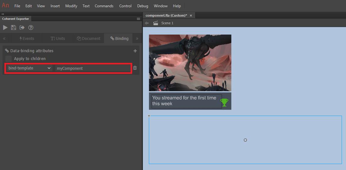 User Interface data binding Adobe Animate