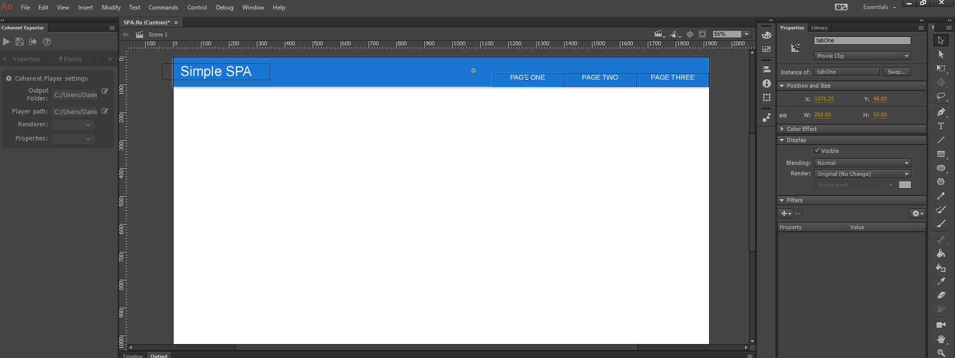 SPA tutorial navigation adobe animate