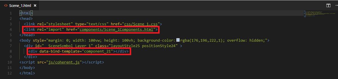 UI html scene markup